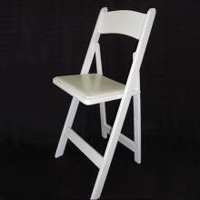 White Wood Padded Folding Chair